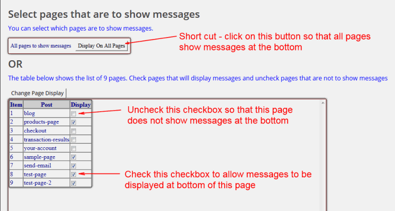 page messages
