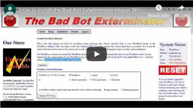 Helper WordPress plugin for the Bad Bot Exterminator