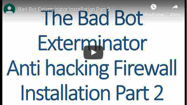 How to install and run the Bad Bot Exterminator